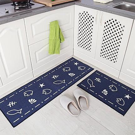 時尚創意地墊22 廚房浴室衛生間臥室床邊門廳 吸水長條防滑地毯(一大+一小)