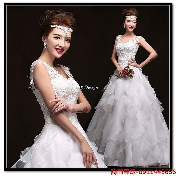 (45 Design) 訂做款式7天到貨  小拖尾新娘抹胸大碼顯瘦蕾絲雙肩孕婦定制婚紗