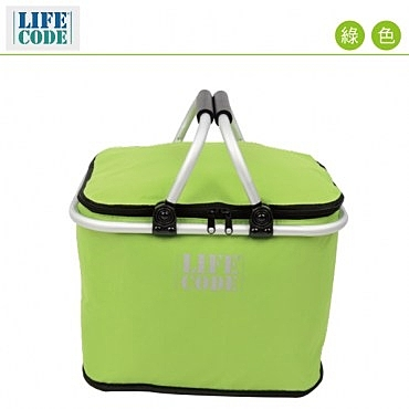LIFECODE 《馬卡龍》保冰提籃/保溫野餐提籃(20L)-綠色