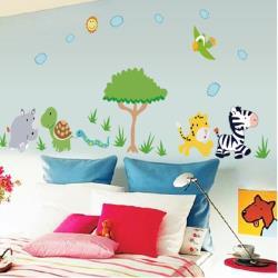 【半島良品】DIY無痕創意牆貼/壁貼-動物樂園 MJ8003大
