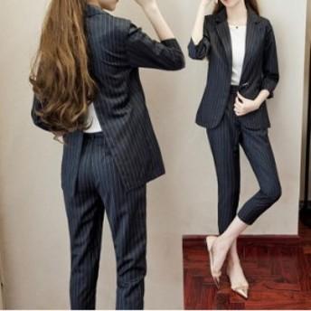 9分パンツお洒落 スーツパンツ 2点セット セレモニースーツ 袖あり  スーツ パンツ 通勤 OL オフィス セットアップ 学生