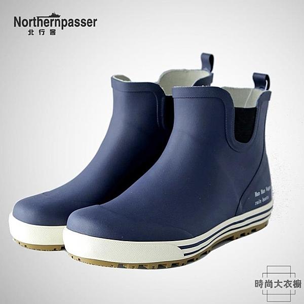 短筒雨鞋男防滑防水鞋水靴橡膠鞋釣魚鞋雨靴時尚【時尚大衣櫥】