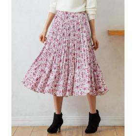 【クミキョク/組曲】 【洗える】サテンフラワープリント フレアスカート