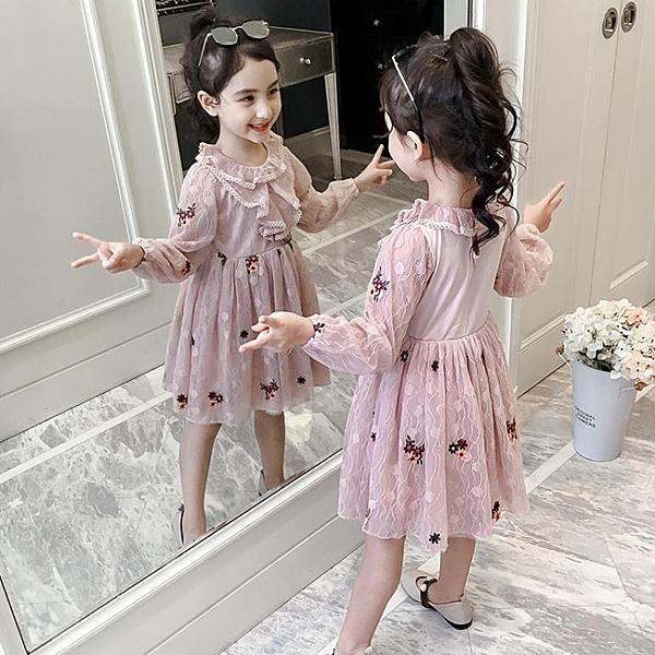 女童連身裙春裝2019新款韓版超洋氣小女孩公主裙刺繡紗裙兒童裙子