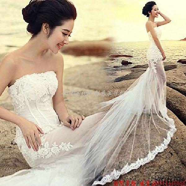 (45 Design) 客製化 預購7天到貨  婚紗禮服 明星婚紗禮服 海邊婚紗影樓婚紗 新娘敬酒服 韓版伴娘