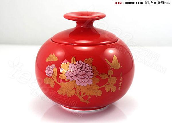 玉瓷紅釉富貴花開茶葉罐