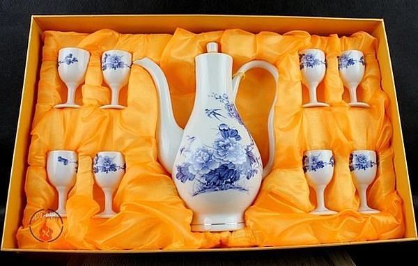 9頭花開富貴牡丹小酒杯白酒套裝 陶瓷
