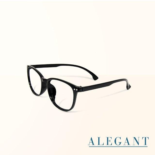 【ALEGANT】簡約造型輕量亮黑方框UV400濾藍光眼鏡