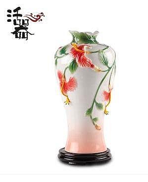 活器琺琅世家 花姿綽約 手工彩繪陶瓷台燈