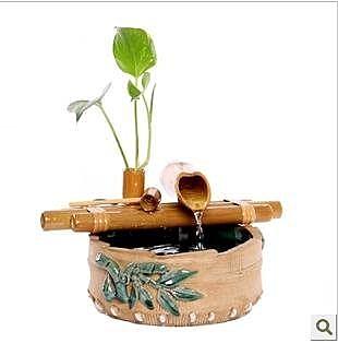 竹藝流水加濕器噴泉