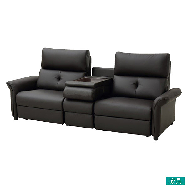 ◎耐磨皮革 3人用加大電動可躺式沙發 N-SHIELD PUR DBR NITORI宜得利家居