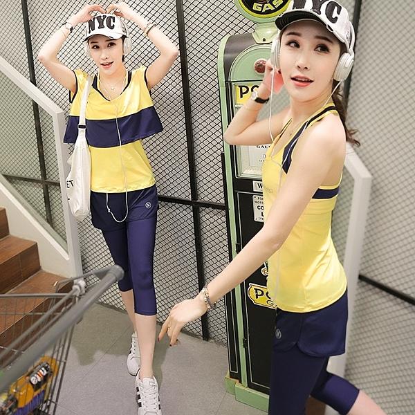 韓國春夏新款瑜伽服套裝三件套女短袖背心休閒運動跑步健身喻咖服   -cmx0032