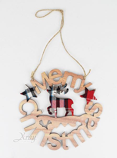 節慶王【X461064】格子布木製英文花環,聖誕節/木製品/手作/裝飾/擺飾/掛飾/吊牌