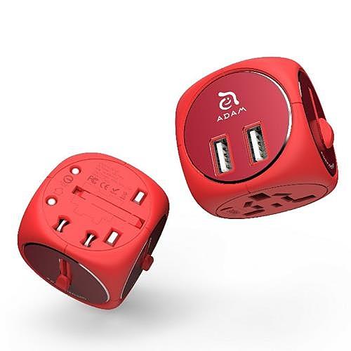 【美國代購】旅行配接器轉換器 雙 USB 充電器 OMNIA TA502- 紅色/深紅