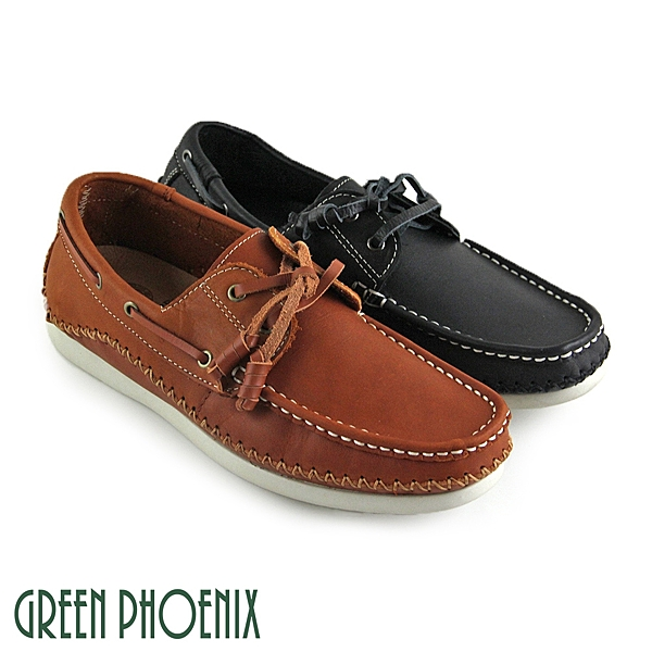 T29-16861 男款平底休閒鞋  極簡素面縫線綁帶全真皮平底休閒鞋【GREEN PHOENIX】