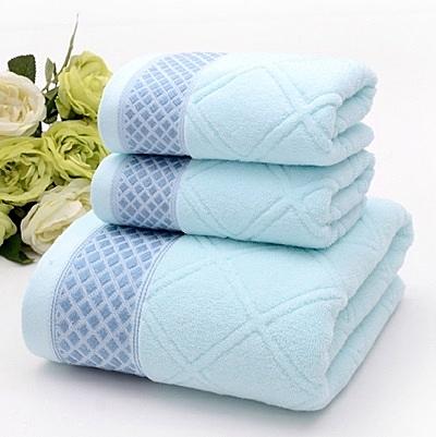 浴巾三件套含浴巾+毛巾-柔軟親膚簡約菱格純棉衛浴用品3色72t7【時尚巴黎】