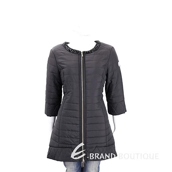 BLUGIRL-FOLIES 黑色黑鑽飾領鋪棉七分袖外套 1710605-01