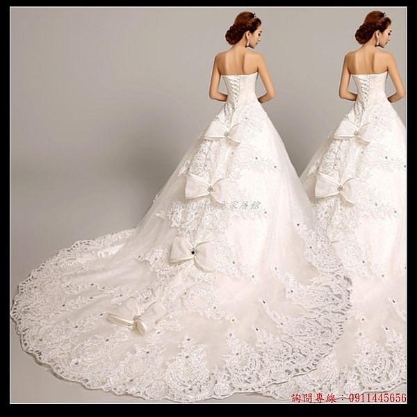 (45 Design婚紗禮服) 客製化7天到貨  奢華鑽石抹胸綁帶韓式韓版公主新娘超大雕花拖尾婚紗禮服