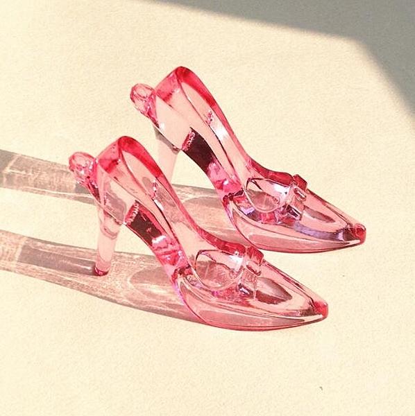 水晶大高跟鞋兒童透明亞克力串珠