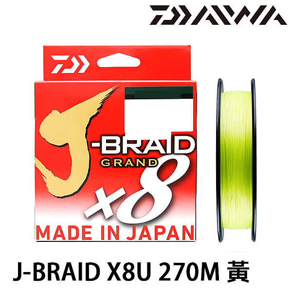 漁拓釣具 DAIWA J-BRAID GRAND×8U 270m 黃綠 [PE線]
