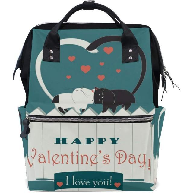 バレンタインデーの猫おむつ バッグ バックパック ママバッグ カジュアル 軽量 大容量 トラベル マミー用