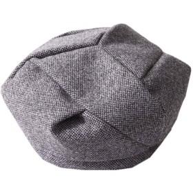 ベレー帽 レディース ウール 秋冬 フリーサイズ 帽子 シンプル キャップ かぼちゃベレー 小顔効果 カジュアル 防寒対策 (Color : Grey, Size : M)