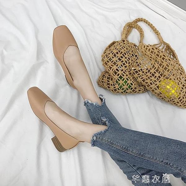 新款韓版粗跟單鞋女淺口方頭復古奶奶鞋學生懶人鞋中跟小皮鞋牛津鞋紳士鞋 快速出貨