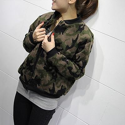 棒球外套-休閒秋冬迷彩仿毛呢拉鏈女短款夾克2色72aq1【巴黎精品】