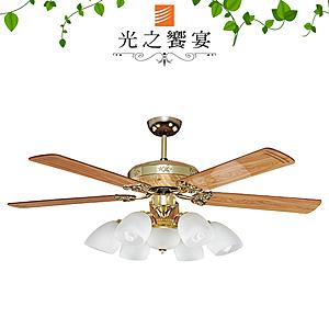 【光之饗宴】52吋楓葉/手拉式/6+1燈G.S/黃豆杉(MIT台灣製)