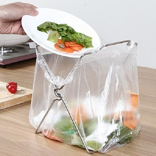 【超取399免運】不銹鋼垃圾袋架子 抹布架 可折疊 廚房垃圾桶架