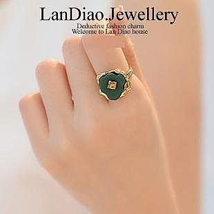 飾品複古 綠色花朵 戒指 女