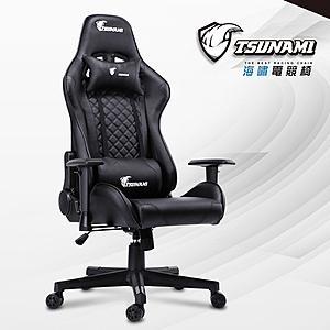 【TSUNAMI】品牌旗艦高背環抱立體曲線工學電競賽車椅黑色