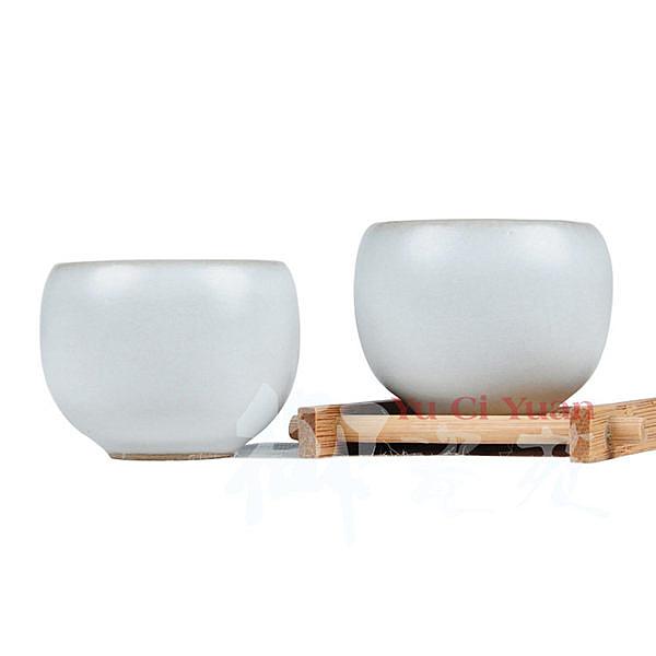 紫砂汝窯月白羅漢普洱茶杯50ml 3個/組