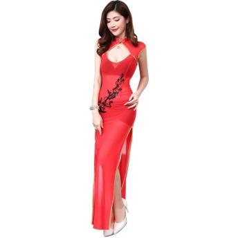 婦人向け 長いチャイナドレス セクシーバラ レース サイド分割 ビンテージ 中国の 肌着ボディコン ドレス 旗袍 中華着物 (S, 60# 長赤)