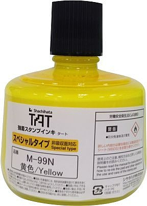 【Shachihata】TAT 新不滅印水 深色物品用 油性 M-99N 黃色 ( 容量 330ml )