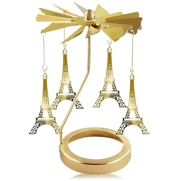 歐沛媞 旋轉燭罩蠟燭台-金-艾菲爾鐵塔 加贈YANKEE CANDLE 香氛蠟燭49g