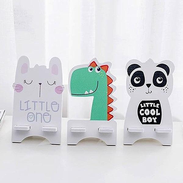 【BlueCat】DIY恐龍熊貓兔子印刷木塑板手機支架