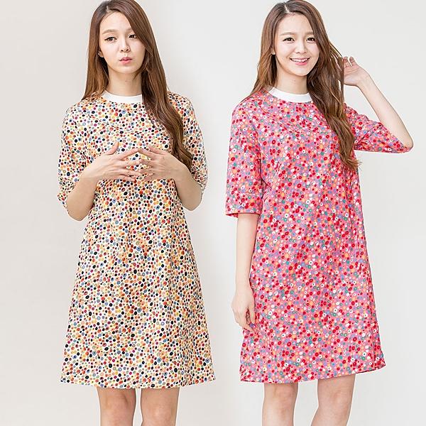 繽紛色彩居家睡衣洋裝(2件組)