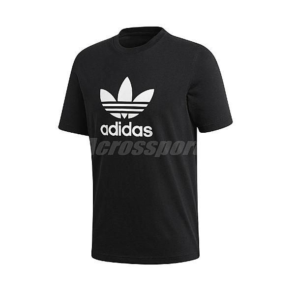 adidas 短袖T恤 Trefoil T-Shirt 黑 白 男款 運動休閒 【ACS】 CW0709