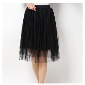 ドゥー ベル Doux Belle 膝丈チュールスカート ふんわりボリュームで大人かわいい (ブラック)