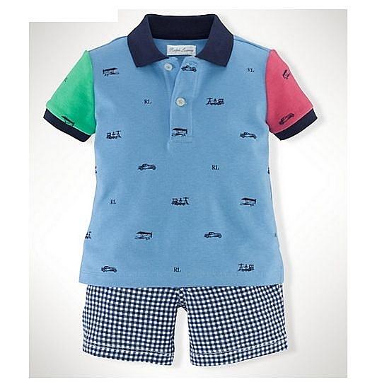 男寶寶套裝二件組 polo杉上衣+短褲 藍拼接 | Polo Ralph Lauren童裝 (嬰幼兒/小孩/baby)