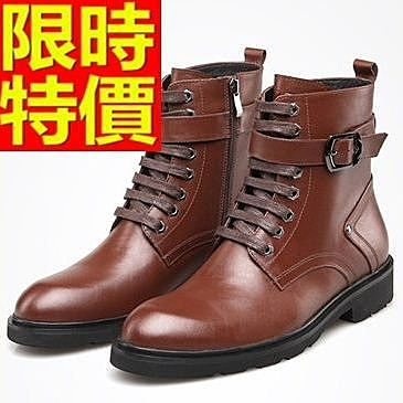 馬丁靴-皮帶扣真皮圓頭英倫中筒男靴子2色64h45【巴黎精品】