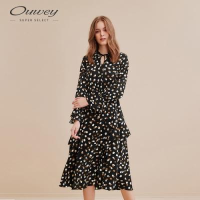 OUWEY歐薇 波點細帶收腰連身洋裝(黑)