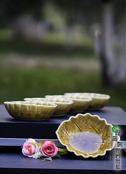 陶瓷創意玻璃釉木葉碗瓷 5入