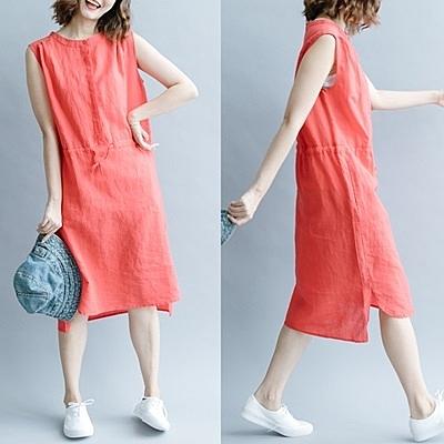 連身裙-無袖純色休閒收腰綁帶女洋裝3色73te14[巴黎精品]