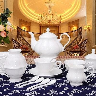 下午茶茶具組合含咖啡杯+茶壺-6人簡約歐式高檔骨瓷茶具69g76【時尚巴黎】
