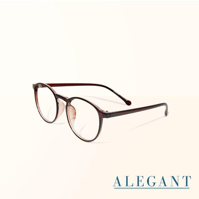 【ALEGANT】簡約造型輕量亮棕圓框UV400濾藍光眼鏡