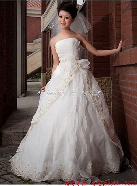 (45 Design) 客製化 預購7天到貨    齊地婚紗 抹胸 韓版公主顯瘦 歐根紗 高檔婚紗