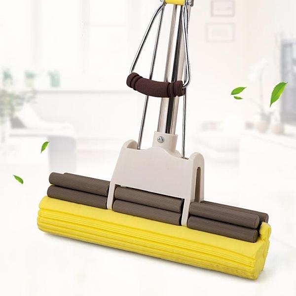 膠棉拖把家用免手洗海綿地拖 不銹鋼滾輪式吸水海棉拖把頭wy 快速出貨