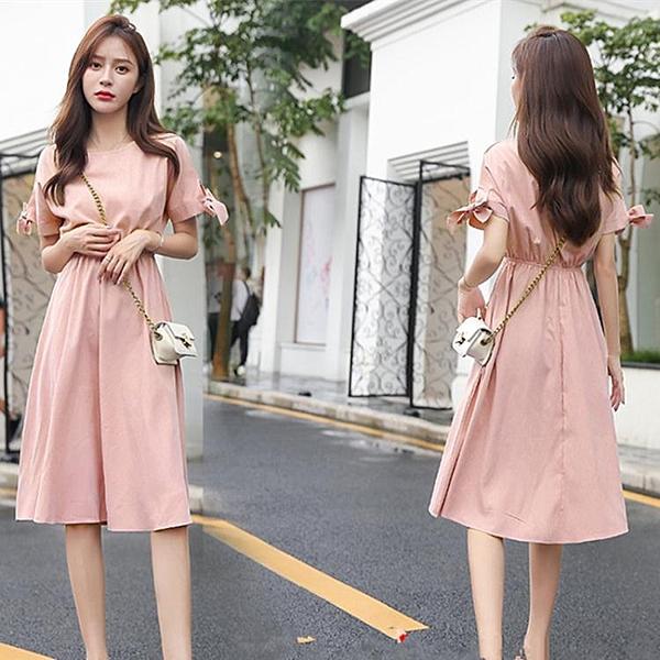 很仙的法國小眾桔梗裙子女裝夏季新款顯瘦清新棉麻連身裙洋裝文藝